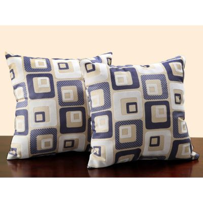415-902 - HomeBasica Cube Print Navy Blue Throw Pillows Pair