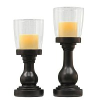 S/2 ASPEN GRADUATED HURRICAN CANDLE HOLDERS W/ FLAMELESS CANDLES
