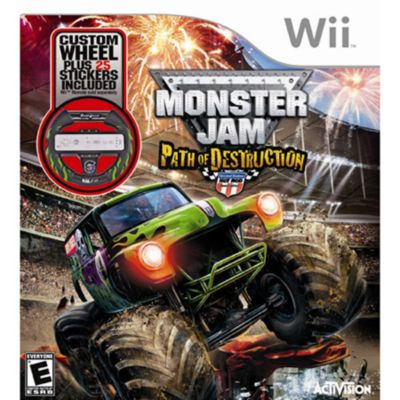 416-390 - Monster Jam: Path of Destruction Nintendo Wii Game w/ Gravedigger Wheel