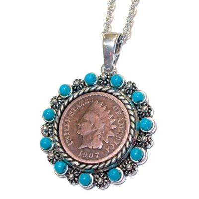 "418-045 - Native American Head Penny Turquoise Pendant w/ 24"" Chain"