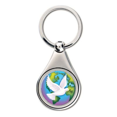 418-068 - Silver-tone Colorized World Peace JFK Half Dollar Keychain