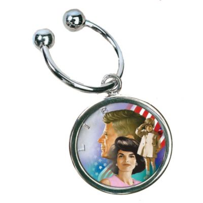 418-070 - Colorized John F. Kennedy & Family Half-Dollar Key Chain