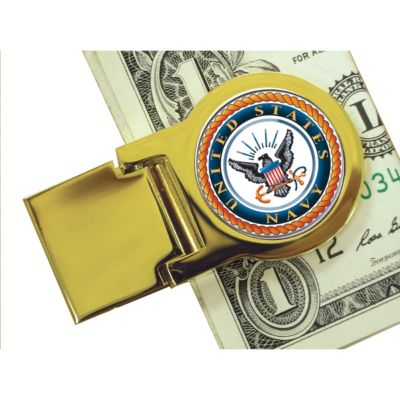418-084 - Colorized Navy Washington Quarter Gold-tone Money Clip