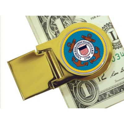 418-086 - Colorized Coast Guard Washington Quarter Gold-tone Money Clip