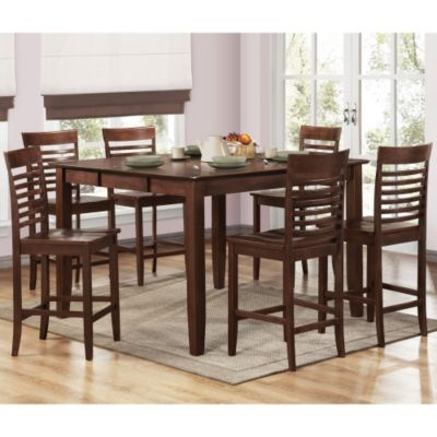 418-950 - Seven-Piece Dark Brown Counter Height Table & Chairs