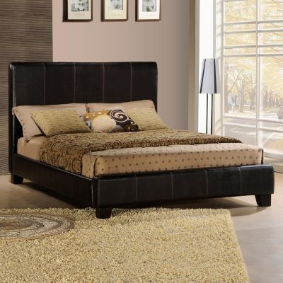 419-010 - Faux Leather King Size Dark Brown Bed