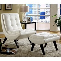 FAUX LEATHER WHITE CHAIR WITH OTTOMAN