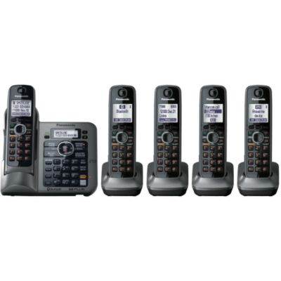 419-787 - Panasonic KX-TG7645M Link-to-Cell Set-of-Five Bluetooth Cellular Convergence Phones
