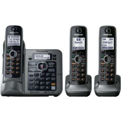 419-809 - Panasonic KX-TG7643M Link-to-Cell Set-of-Three Bluetooth Cellular Convergence Phones