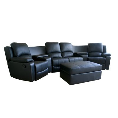 420-380 - Baxton Studio Black Leather Seven Piece Recliner Sectional Seating & Ottoman