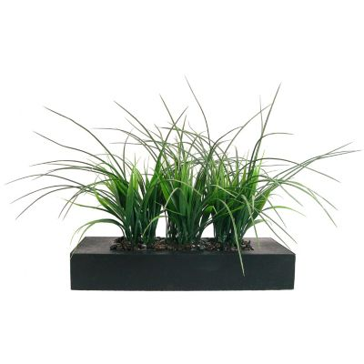 420-770 - Laura Ashley Faux Three Bunch Grass Planter w/ Pebbles