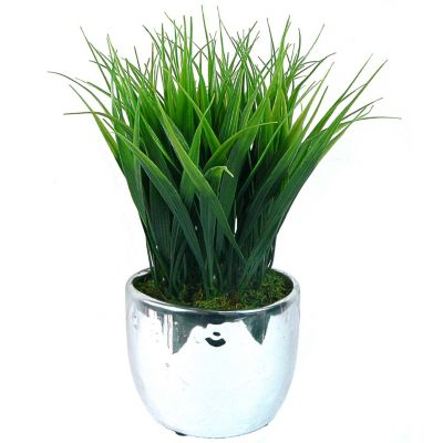 420-779 - Laura Ashley Faux Grass Arrangement Silver-tone Planter-Set of Two