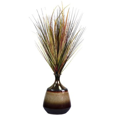 420-800 - Laura Ashley Faux Realistic Onion Grass in Glazed Ceramic Container