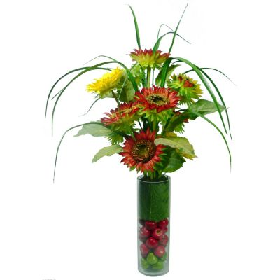 420-801 - Laura Ashley Faux Sunflowers, Greenery & Fruit in Glass Vase