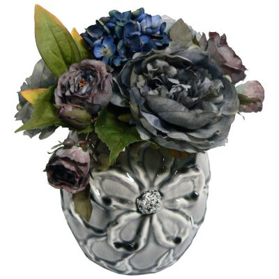 420-805 - Laura Ashley Faux Hydrangea & Peony Ceramic Flower Planter Arrangement