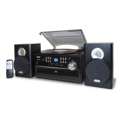420-970 - Jensen 3-Speed Stereo Turntable w/ CD System, Cassette & AM/FM Stereo Radio