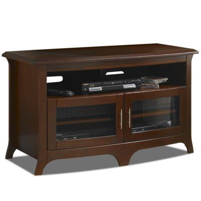 421-794 - TechCraft Wide Curved Front Panel Walnut Finish A/V Cabinet Credenza