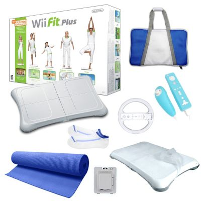 422-350 - Nintendo Wii Fit Plus Blue Holiday Bundle w/ Yoga Mat, Wheel & Accessories