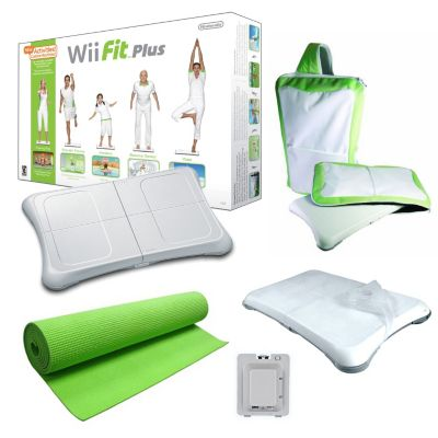 422-351 - Nintendo Wii Fit Plus Green Holiday Bundle w/ Yoga Mat, Wheel & Accessories