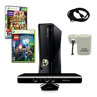 XBOX 360 Slim 4GB Kinect Super Holiday Bundle with 2 Games, Charger, and More