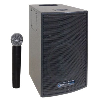 422-667 - Technical Pro 8in. Battery Powered PA System with Wireless VHF Microphone
