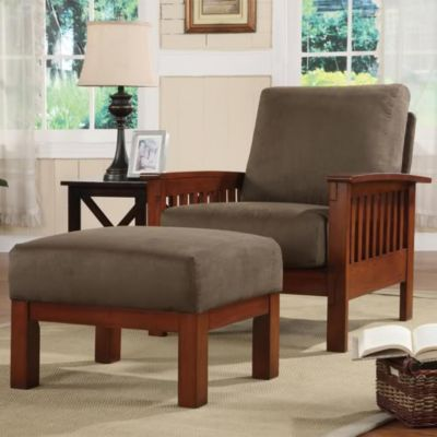 422-710 - HomeBasica Oak & Olive Finish Chair & Ottoman Set