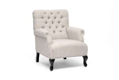 423-100 - Baxton Studio Joussard Beige Linen Club Chair - Set of Two