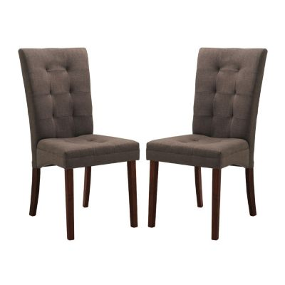 423-298 - Baxton Studio Anne Brown Fabric Dining Chairs - Two Piece Set