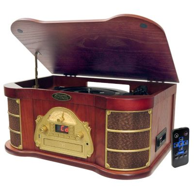 423-382 - Pyle PTCDS1U  Classical Turntable w/ AM/FM Radio, CD/Cassette, & USB Capability
