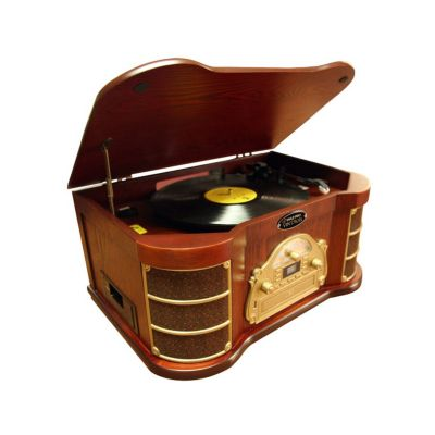 423-390 - Pyle PTCDS2UI Turntable w/ AM/FM Radio, CD, Cassette, USB Recording & iPod Players