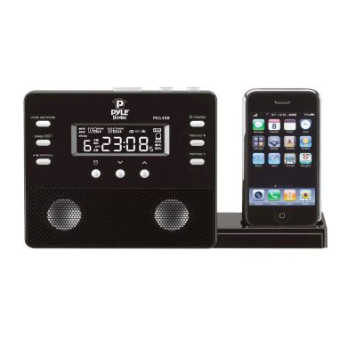 423-449 - Pyle PICL45B iPod/iPhone Alarm Clock Speaker System w/ AM FM Radio & Remote Control