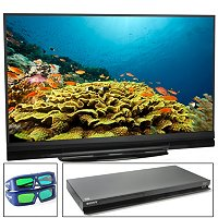 "MITSUBISHI 60"" 7 SERIES HDTV FULL 3D BLU-RAY THEATRE, TWO 3D GLASSES"