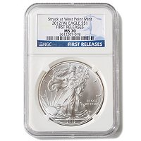 2012 W SILVER EAGLE STRUCK AT WEST POINT NGC MS70 ER STAR LABEL