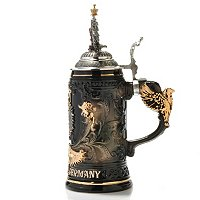 DEUTSCHLAND BLACK AND GOLD EAGLE STEIN W/ EAGLE HANDLE