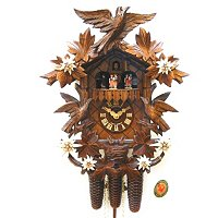 8-DAY CLASSICAL MUSIC DANCERS CUCKOO CLOCK WITH EDELWEISS