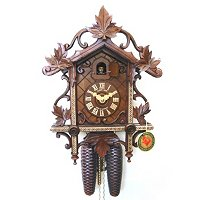 8-DAY WOODEN INLAY CUCKOO CLOCK ANTIQUE STYLE