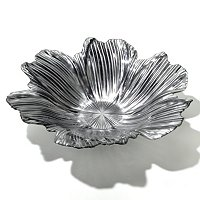 SILVER PLATED GLASS LARGE FLOWER BOWL