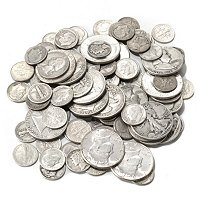 ONE POUND SILVER HOARD IN BANKERS BAG