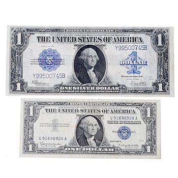 429-344 - 1923 & 1957 Large & Small US Silver Dollar Certificates