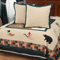 """Bear Mountain"" Euro Sham Pair and Bedskirt Set"