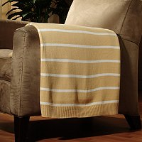 "North Shore Linens Striped 50""x60"" Cotton Sweater Throw"