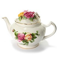 ROYAL ALBERT SCULPTED ROSE FLORAL TEAPOT