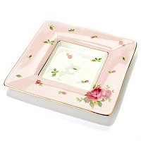 ROYAL ALBERT NEW COUNTRY ROSES PINK SQUARE TRINKET TRAY