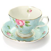 Royal Albert Polka Rose Blue Cup and Saucer