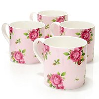 Royal Albert New Country Rose set of 4 mugs - Pink