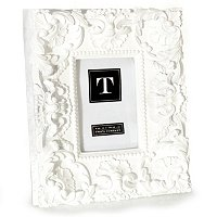 "White Mod Ornate 4""X6"" Photo Frame - Resin"