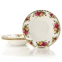 ROYAL ALBERT OLD COUNTRY ROSE SET OF 4 RIM SOUP BOWLS