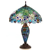 Tiffany Style Corrista Stained Glass Double Lit Table Lamp