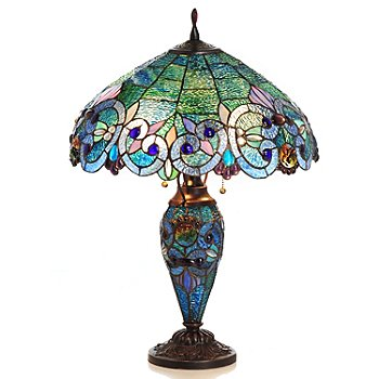 430-028 - Tiffany-Style 26'' Corrista Stained Glass Double Lit Table Lamp