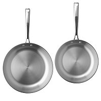 Macy's Belgique Stainless Steel Set of 2 Fry Pans